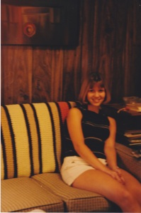 Teenage years. Awkward for everyone. But hey, check out the awesome multi-colored blanket behind me.